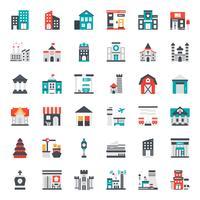 gebouw platte pictogram vector