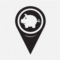 Kaart aanwijzer spaarvarken pictogram vector