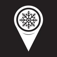 Kaart aanwijzer sneeuwvlok pictogram