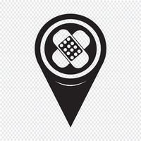 Kaart aanwijzer gips pictogram