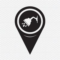 Kaart aanwijzer douche pictogram vector
