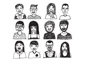 Set van mensen pictogrammen gezichten. vrouwen, mannen karakter