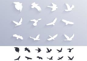 Vogels Bidden Silhouetten Vector Pakket