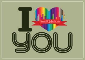 ik hou van jou en Happy birthday kaart idee ontwerp vector