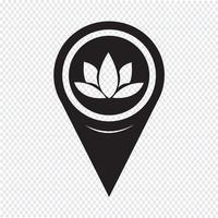 Kaartaanwijzer Lotus pictogram vector