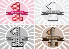 Nummer één en de Winnaar eerste plaats ondertekenen simbol met linten
