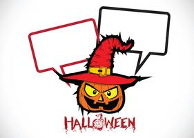 Halloween-kaart met pompoen en sprekende Toespraakbel