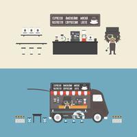 coffeeshop en mobiele koffie vector