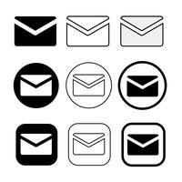 set van eenvoudige teken e-mail pictogram mail symbool vector