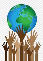 Hand met wereld en globe handen idee