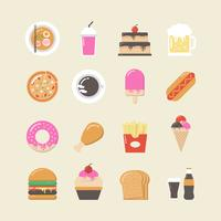 fastfood icon set vector