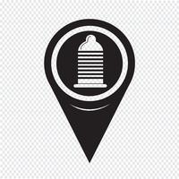 Kaart aanwijzer condoom pictogram vector