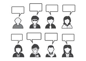 Mensen pictogram en mensen praten tekstballon vector