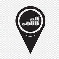 Kaart Pin aanwijzer geld pictogram vector