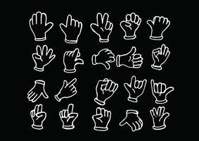 Gloved beeldverhaalhand, illustratie van diverse handen