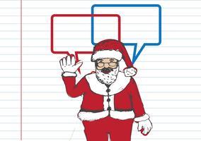Santa Claus voor kerst hand getrokken en praten tekstballon vector