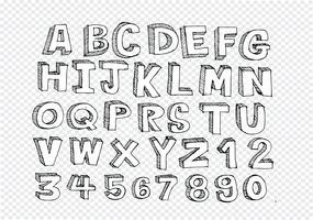 Hand getrokken brieven lettertype geschreven met een pen vector