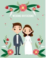 schattige bruid en bruidegom voor bruiloft uitnodigingen kaart vector