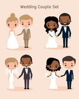 schattige verscheidenheid bruid en bruidegom paar collectie vector