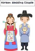 schattig Koreaans echtpaar in traditionele kleding stripfiguur
