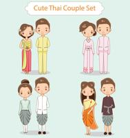 Leuke Thaise het karakterinzameling van het paarbeeldverhaal