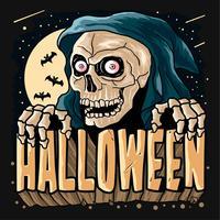 Grim Reaper Horor Halloween-de vector van de partijpompoen