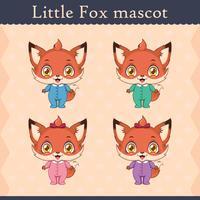 Schattige baby vos mascotte set - staande pose vector