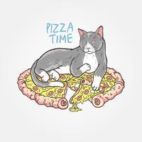 Cat Pizza vector bewerkbare laag