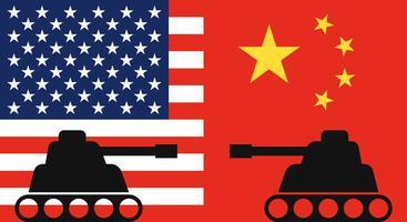 Tank twee die elkaar met achtergrond van de vlag van China en de vlag van Verenigde Staten onder ogen zien