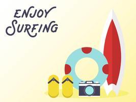 Surfplank met zwemring en slippers vector