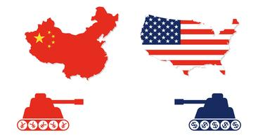 Verenigde Staten kaart en China kaart met tank tegenover elkaar