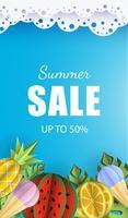 Vector zomer achtergrond banner 3d papier gesneden met kant, ijs. Fruitananas en watermeloen. Flyer voor advertentieverkoop
