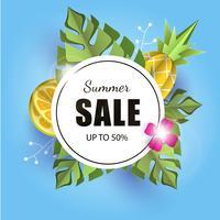 Vector zomer achtergrond banner 3d papier gesneden met ananas. citroen. bloem en palm bladeren. Flyerbanner voor advertentieverkoop