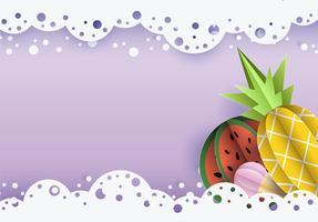 Vector zomer achtergrond 3d papier gesneden met kant, ijs wolken. Fruitananas en watermeloen.