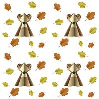Kleurrijk naadloos patroon van bruine beer en bladeren die van document worden verwijderd