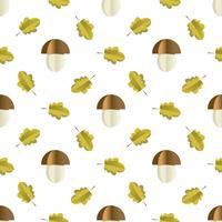 Kleurrijk naadloos patroon van paddestoelen en bladeren die van document worden verwijderd vector