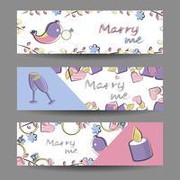 Set van banners met vector-elementen. Romantiek, liefde, huwelijk
