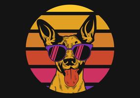 Hond zonsondergang Retro vectorillustratie vector