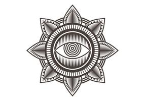 één oog mandala ontwerp vectorillustratie