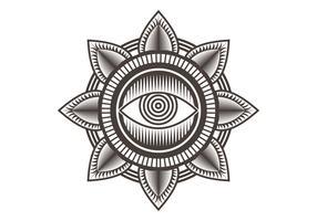 één oog mandala ontwerp vectorillustratie vector
