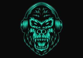 gorilla hoofdtelefoon vector