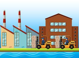 Fabrieksscène met twee vorkheftrucks die werken vector