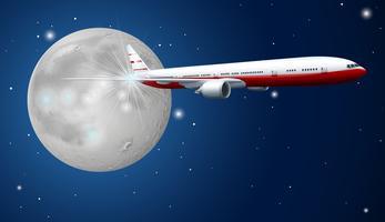 Vliegtuig vliegt in de lucht 's nachts vector