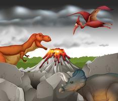 Dinosaurussen die op de berg leven