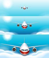 Drie scènes van het vliegtuig vliegen in de lucht vector