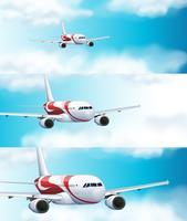 Drie scènes met vliegtuig in de lucht vector