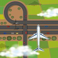 Luchtfoto scène met vliegtuig vliegen in de lucht vector