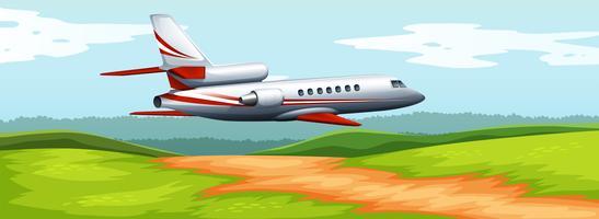 Scène met vliegtuig dat over het gebied vliegt vector