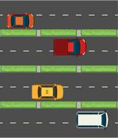 Luchtfoto van auto's op de wegen vector