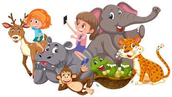 Kinderen en wilde dieren vector